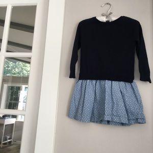 Navy and light blue girls dress Osh Kosh 4T
